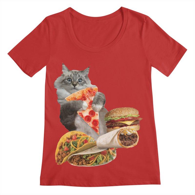 Taco Pizza Burger Cat  Women's Regular Scoop Neck by heARTcart's Artist Shop