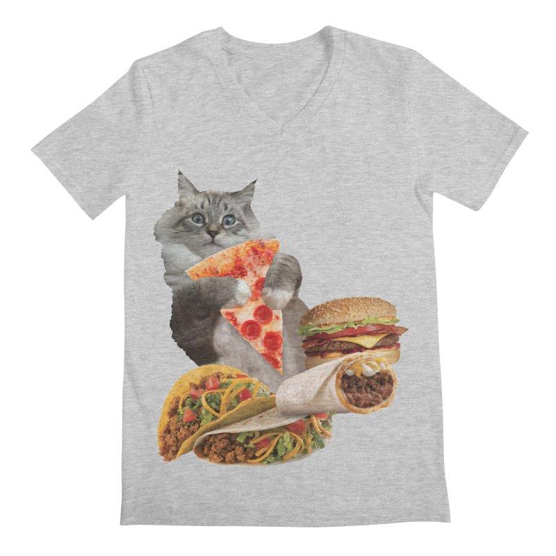 Taco Pizza Burger Cat  Men's Regular V-Neck by heARTcart's Artist Shop