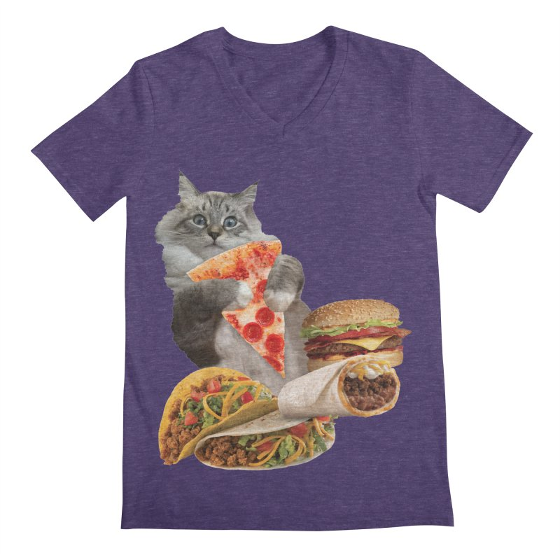 Taco Pizza Burger Cat  Men's Regular V-Neck by heARTcart's Artist Shop