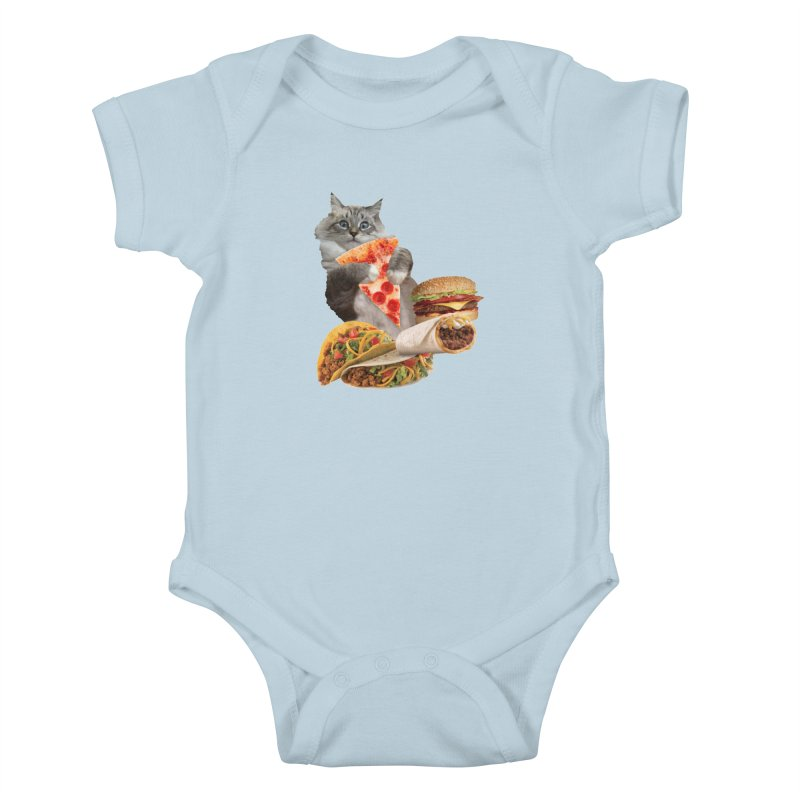 Taco Pizza Burger Cat  Kids Baby Bodysuit by heARTcart's Artist Shop