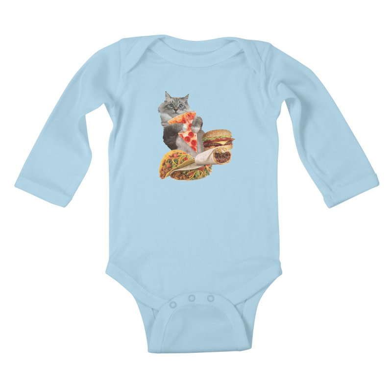 Taco Pizza Burger Cat  Kids Baby Longsleeve Bodysuit by heARTcart's Artist Shop