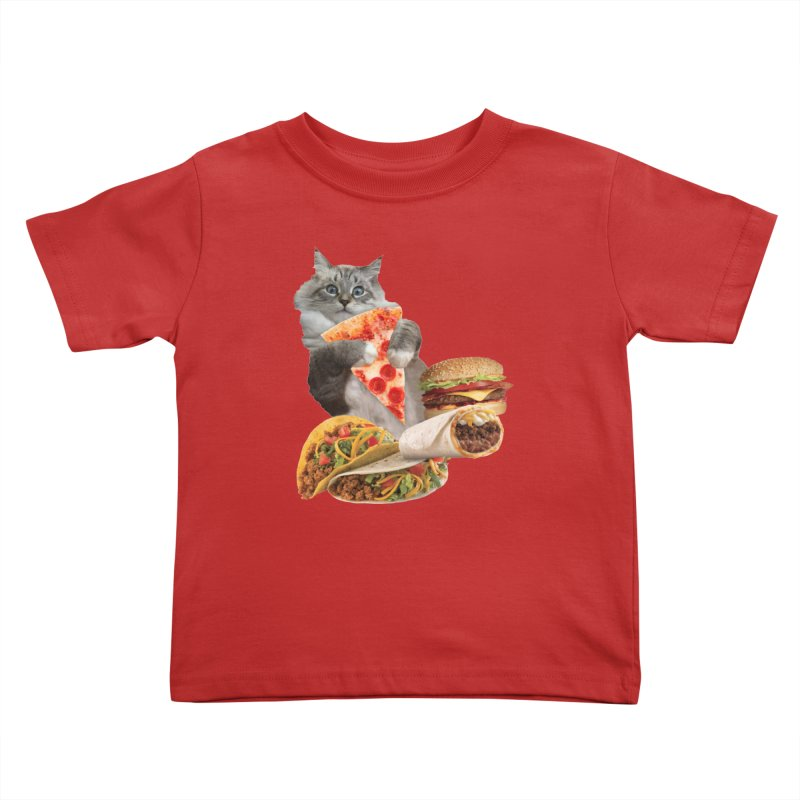 Taco Pizza Burger Cat  Kids Toddler T-Shirt by heARTcart's Artist Shop