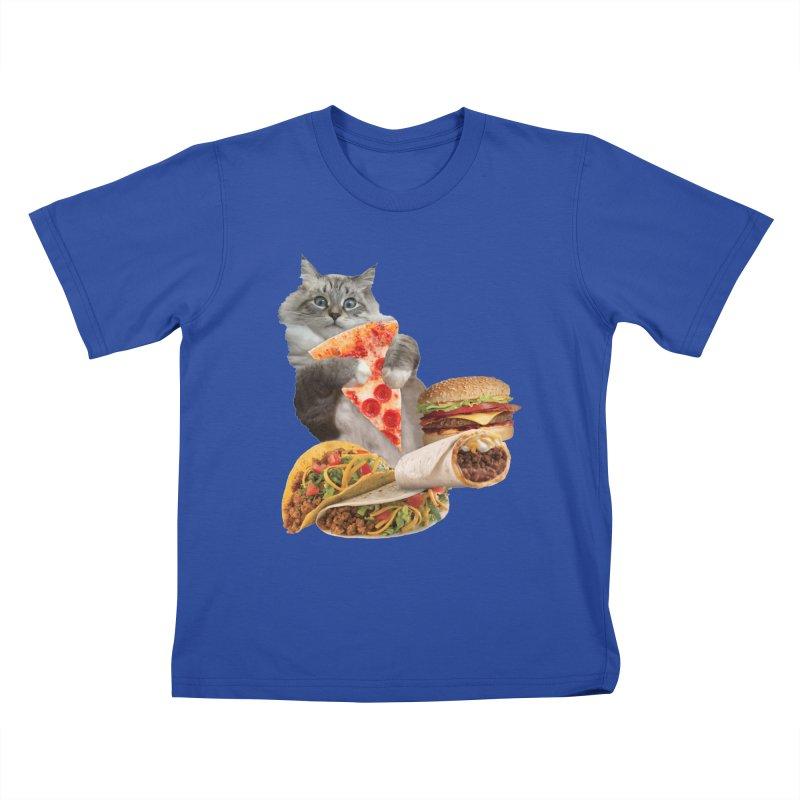 Taco Pizza Burger Cat  Kids T-Shirt by heARTcart's Artist Shop