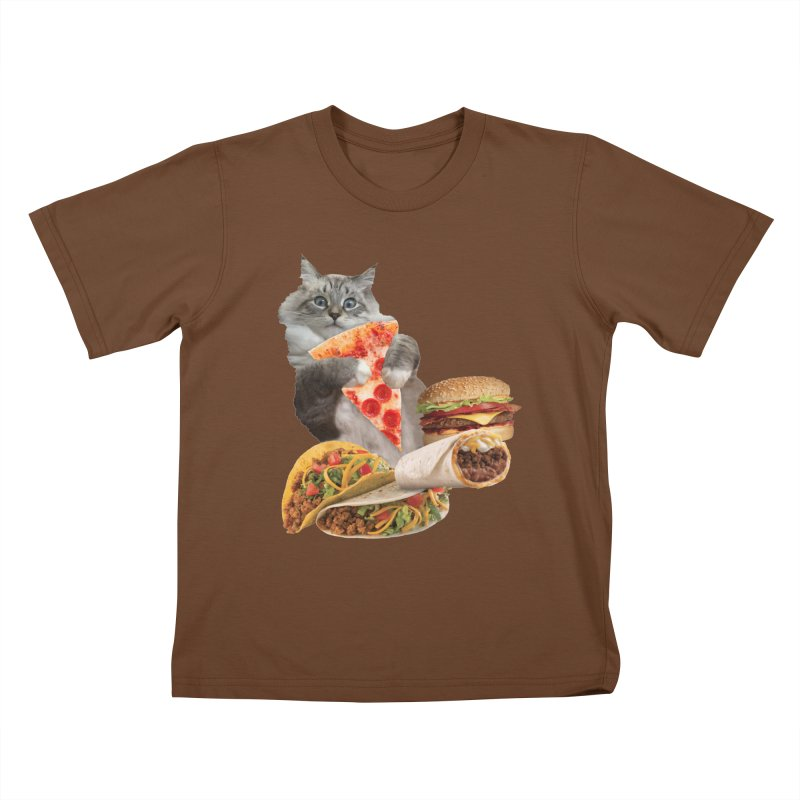 Taco Pizza Burger Cat  Kids T-Shirt by heARTcart's Artist Shop
