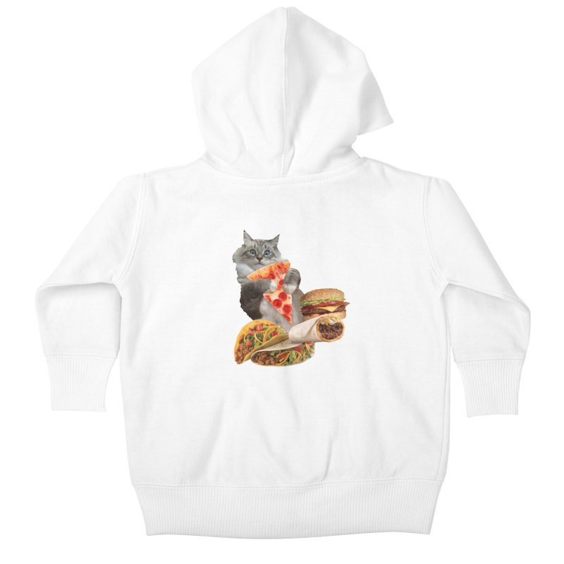 Taco Pizza Burger Cat  Kids Baby Zip-Up Hoody by heARTcart's Artist Shop