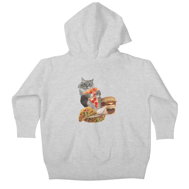 Taco Pizza Burger Cat  Kids Baby Zip-Up Hoody by heARTcart's Artist Shop