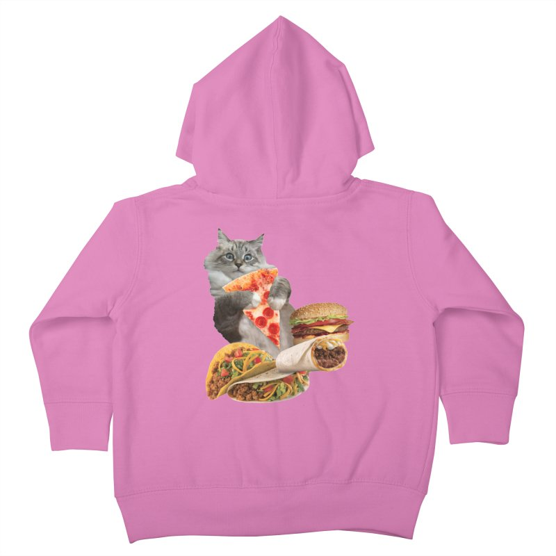 Taco Pizza Burger Cat  Kids Toddler Zip-Up Hoody by heARTcart's Artist Shop
