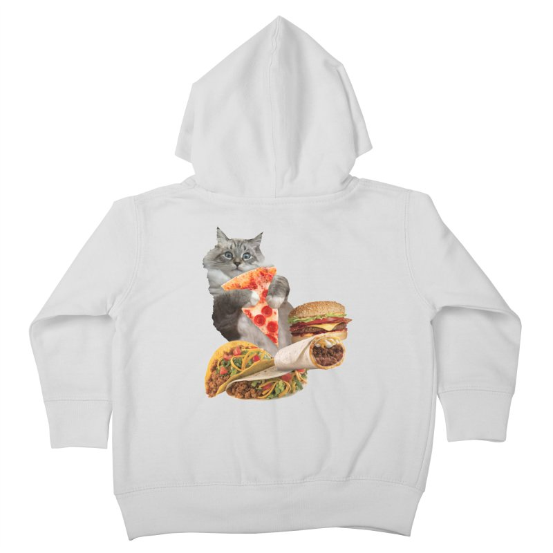 Taco Pizza Burger Cat  Kids Toddler Zip-Up Hoody by heARTcart's Artist Shop