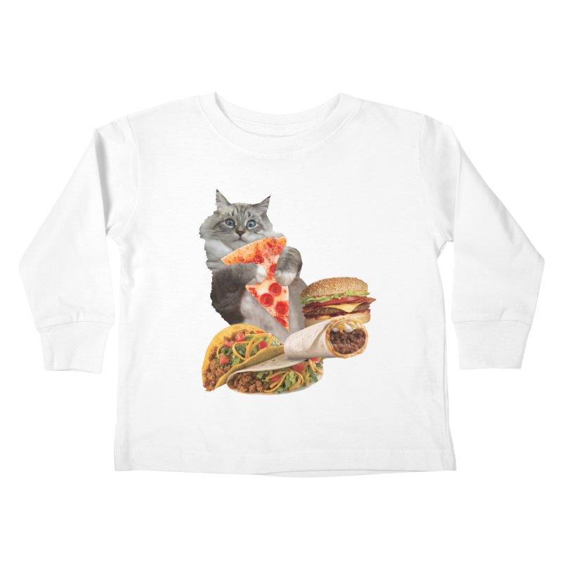 Taco Pizza Burger Cat  Kids Toddler Longsleeve T-Shirt by heARTcart's Artist Shop