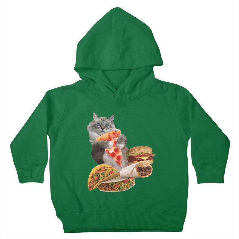 Taco Pizza Burger Cat  Kids Toddler Pullover Hoody by heARTcart's Artist Shop