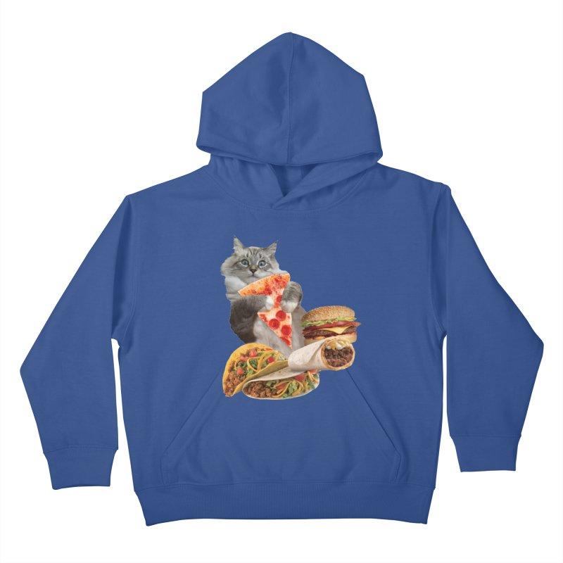 Taco Pizza Burger Cat  Kids Pullover Hoody by heARTcart's Artist Shop