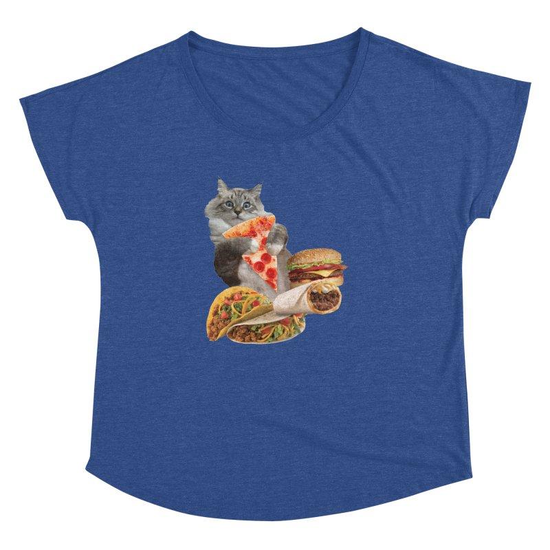 Taco Pizza Burger Cat  Women's Dolman Scoop Neck by heARTcart's Artist Shop