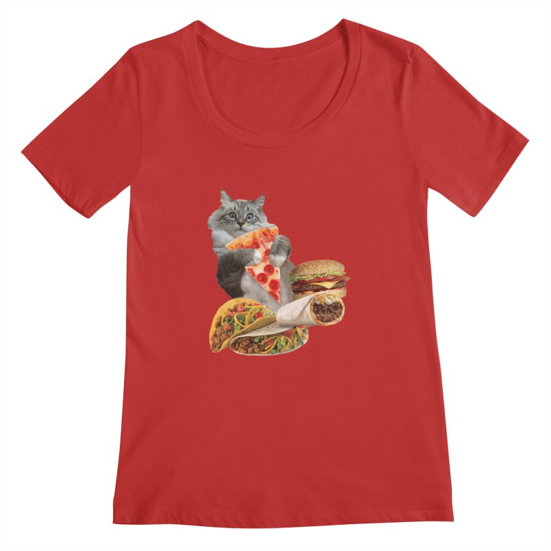 Taco Pizza Burger Cat  Women's Regular Scoop Neck by heARTcart's Artist Shop
