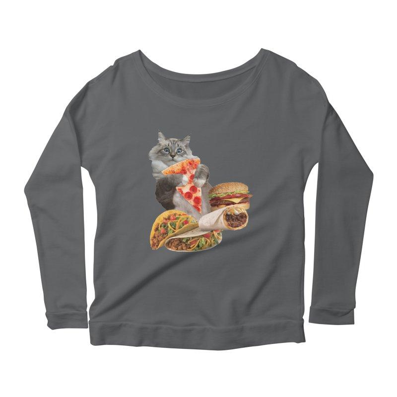 Taco Pizza Burger Cat  Women's Longsleeve T-Shirt by heARTcart's Artist Shop