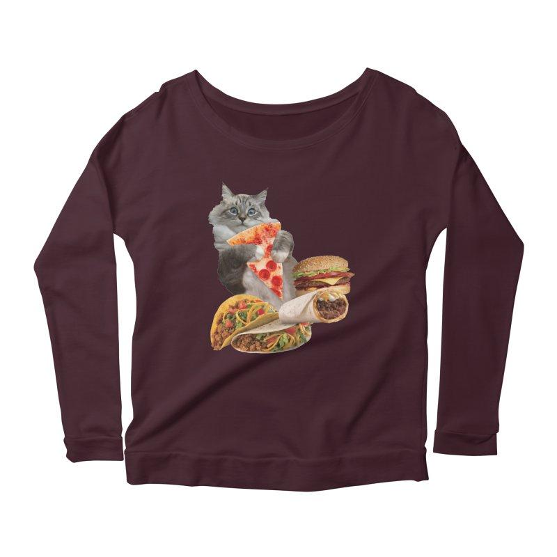 Taco Pizza Burger Cat  Women's Scoop Neck Longsleeve T-Shirt by heARTcart's Artist Shop