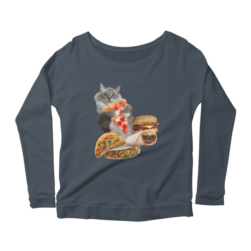 Taco Pizza Burger Cat  Women's Scoop Neck Longsleeve T-Shirt by heARTcart's Artist Shop