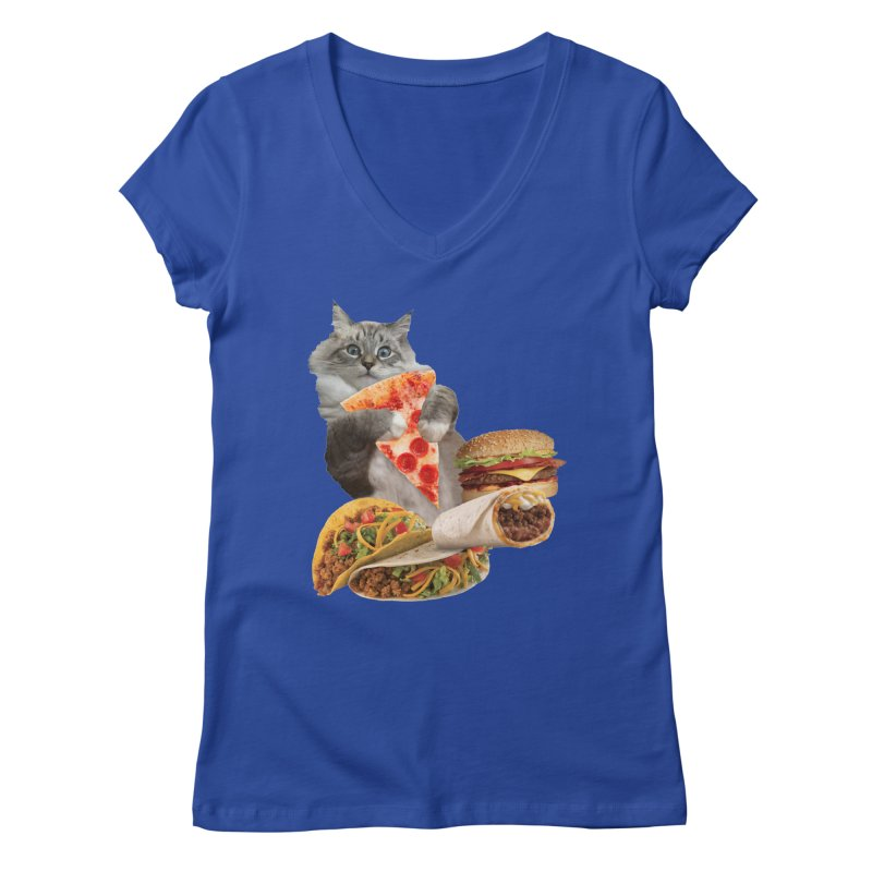 Taco Pizza Burger Cat  Women's Regular V-Neck by heARTcart's Artist Shop