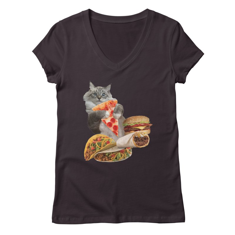 Taco Pizza Burger Cat  Women's Regular V-Neck by heARTcart's Artist Shop