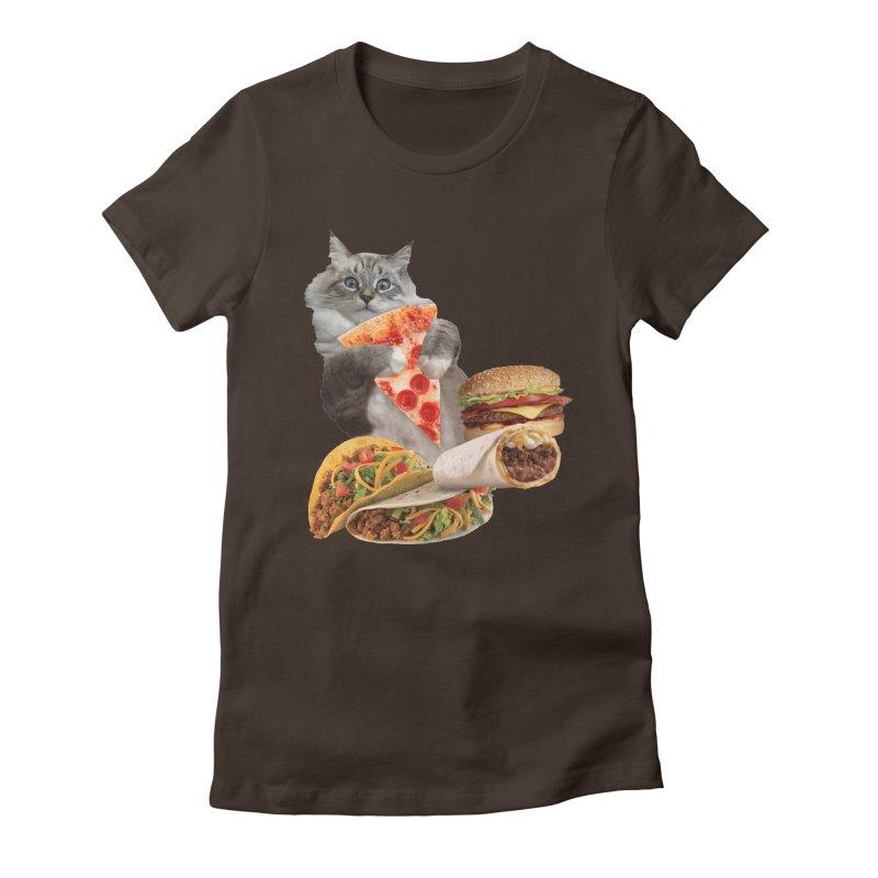 Taco Pizza Burger Cat  Women's Fitted T-Shirt by heARTcart's Artist Shop