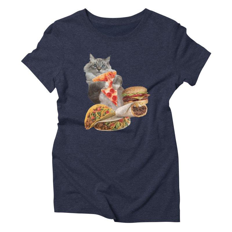 Taco Pizza Burger Cat  Women's Triblend T-Shirt by heARTcart's Artist Shop