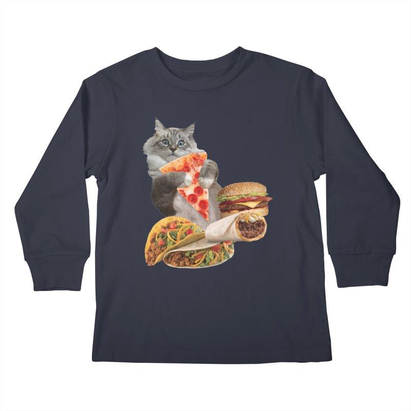 Taco Pizza Burger Cat  Kids Longsleeve T-Shirt by heARTcart's Artist Shop