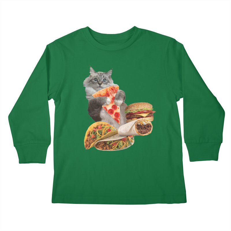 Taco Pizza Burger Cat  Kids Longsleeve T-Shirt by heARTcart's Artist Shop