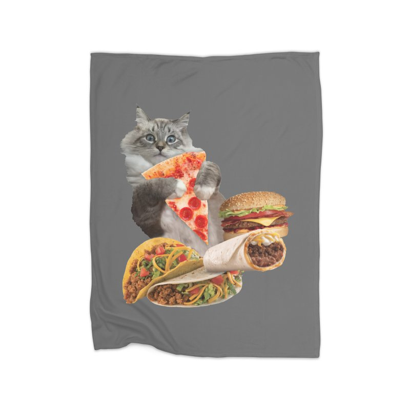 Taco Pizza Burger Cat  Home Blanket by heARTcart's Artist Shop
