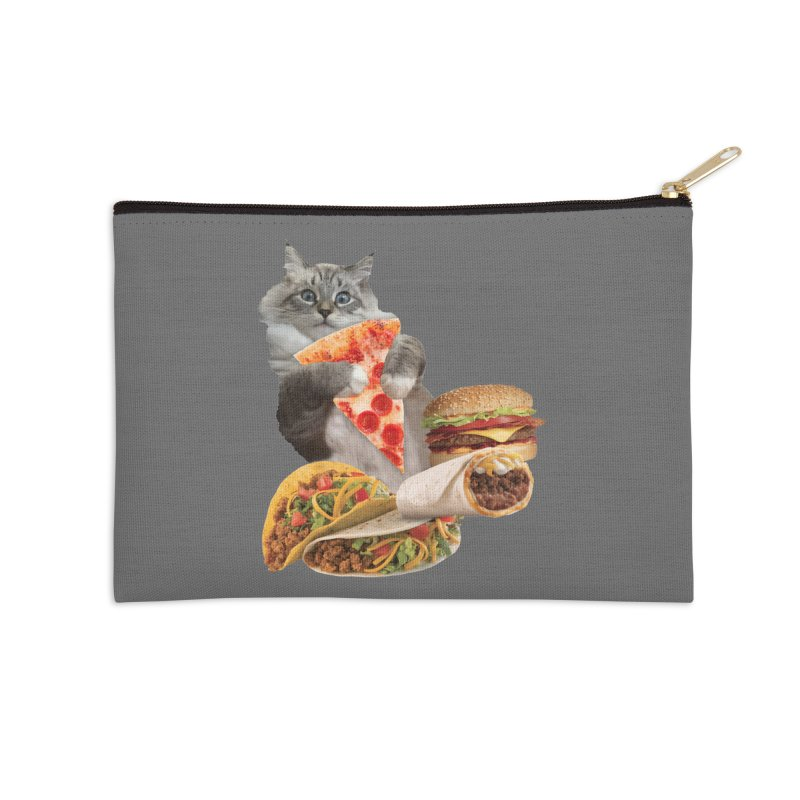Taco Pizza Burger Cat  Accessories Zip Pouch by heARTcart's Artist Shop
