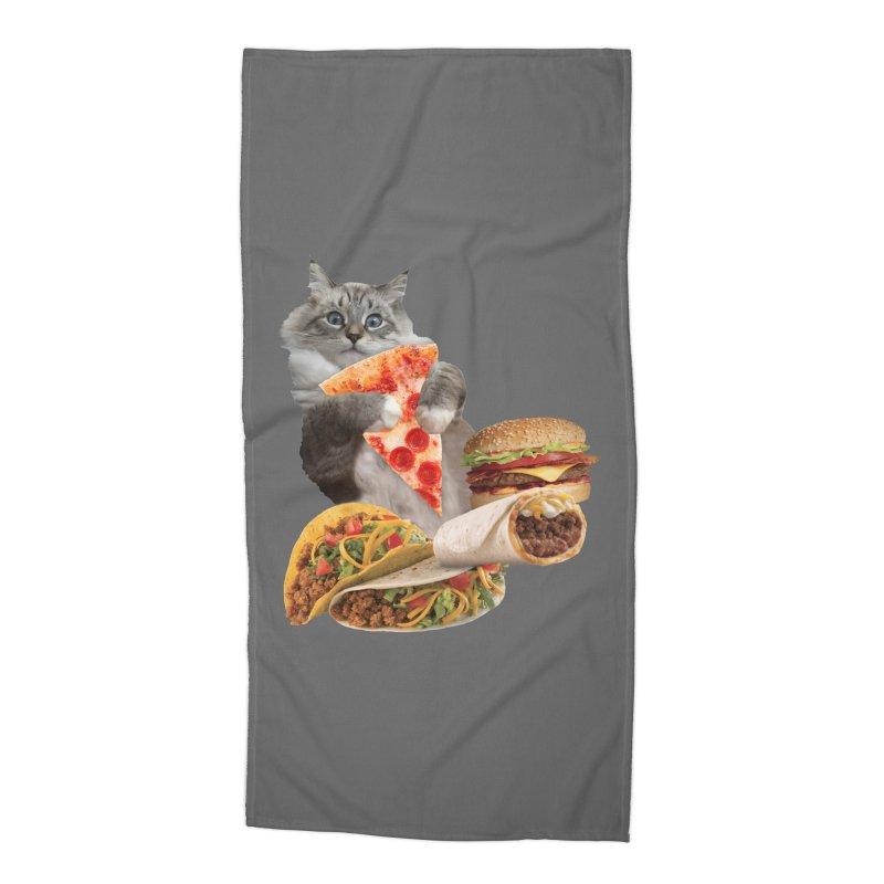 Taco Pizza Burger Cat  Accessories Beach Towel by heARTcart's Artist Shop