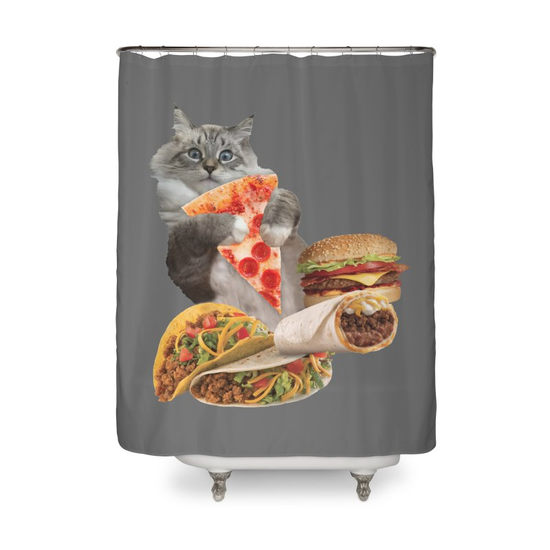 Taco Pizza Burger Cat  Home Shower Curtain by heARTcart's Artist Shop