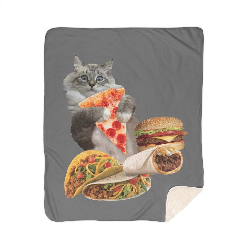 Taco Pizza Burger Cat  Home Sherpa Blanket Blanket by heARTcart's Artist Shop