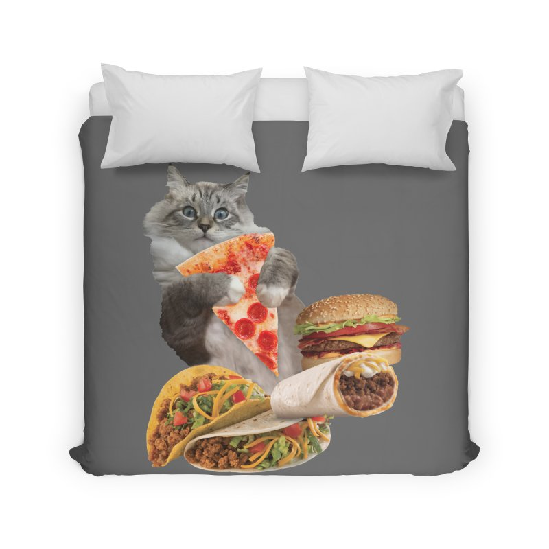 Taco Pizza Burger Cat  Home Duvet by heARTcart's Artist Shop