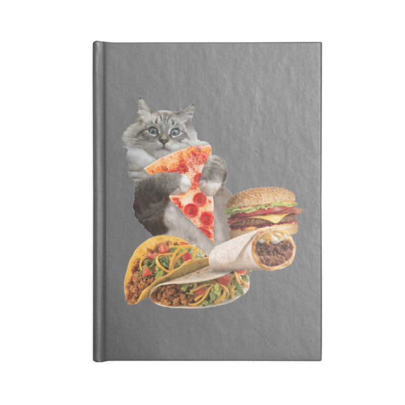 Taco Pizza Burger Cat  Accessories Lined Journal Notebook by heARTcart's Artist Shop