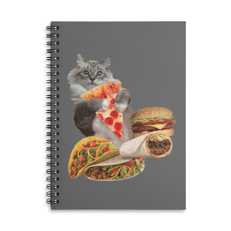 Taco Pizza Burger Cat  Accessories Lined Spiral Notebook by heARTcart's Artist Shop