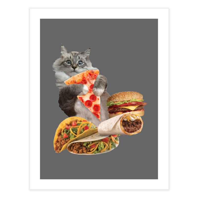 Taco Pizza Burger Cat  Home Fine Art Print by heARTcart's Artist Shop