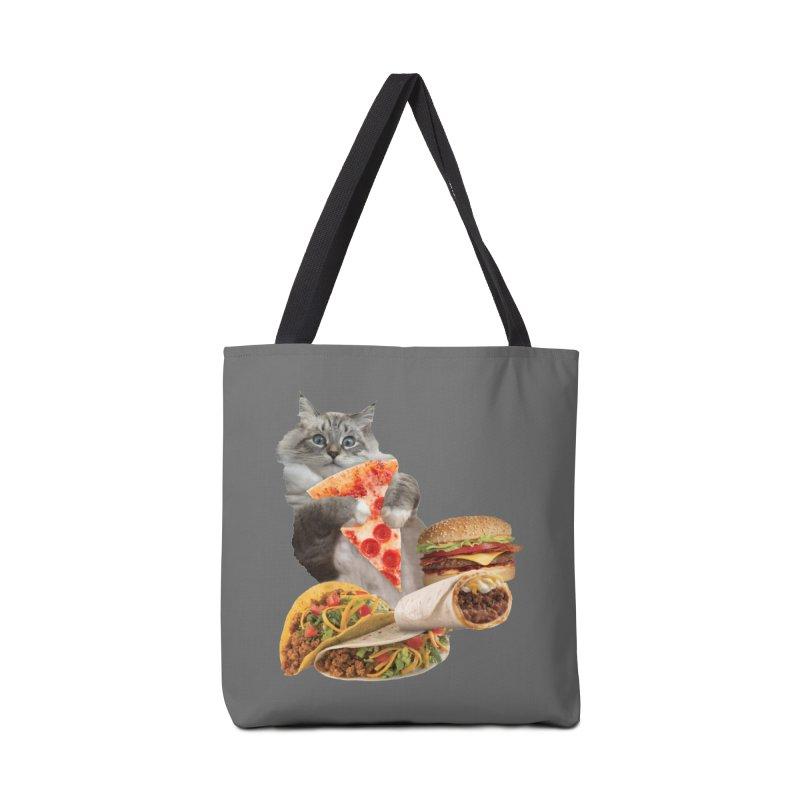 Taco Pizza Burger Cat  Accessories Tote Bag Bag by heARTcart's Artist Shop