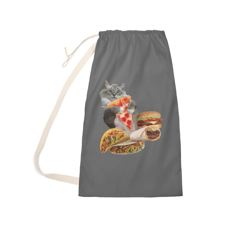 Taco Pizza Burger Cat  Accessories Laundry Bag Bag by heARTcart's Artist Shop