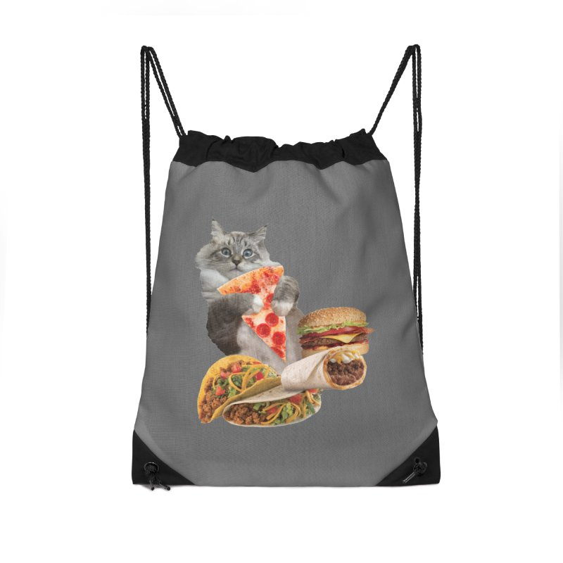 Taco Pizza Burger Cat  Accessories Drawstring Bag Bag by heARTcart's Artist Shop