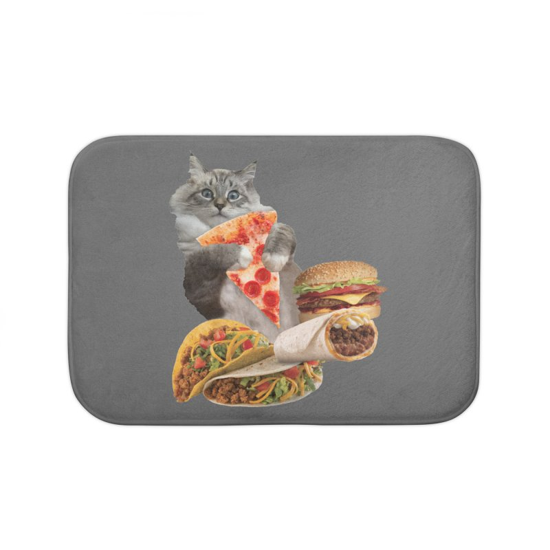 Taco Pizza Burger Cat  Home Bath Mat by heARTcart's Artist Shop