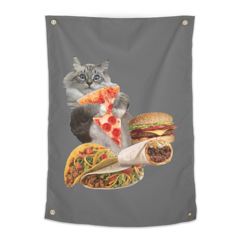 Taco Pizza Burger Cat  Home Tapestry by heARTcart's Artist Shop