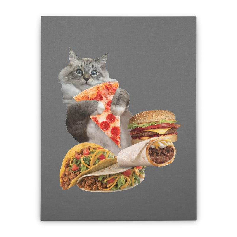Taco Pizza Burger Cat  Home Stretched Canvas by heARTcart's Artist Shop