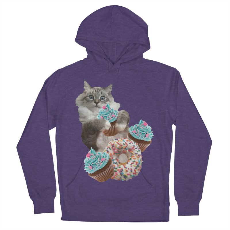 Cupcake Donut Cat  Men's French Terry Pullover Hoody by heARTcart's Artist Shop