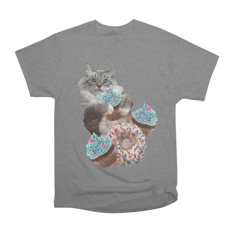 Cupcake Donut Cat  Men's Heavyweight T-Shirt by heARTcart's Artist Shop