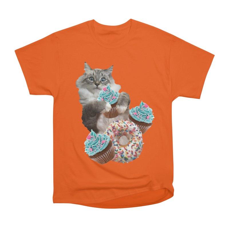 Cupcake Donut Cat  Women's Heavyweight Unisex T-Shirt by heARTcart's Artist Shop