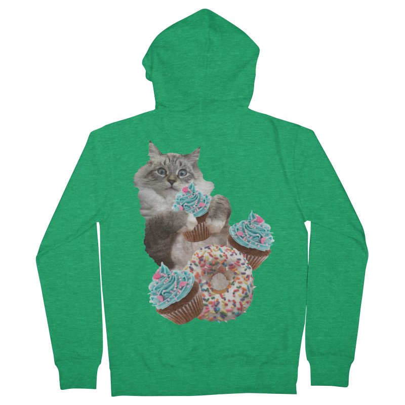 Cupcake Donut Cat  Women's French Terry Zip-Up Hoody by heARTcart's Artist Shop