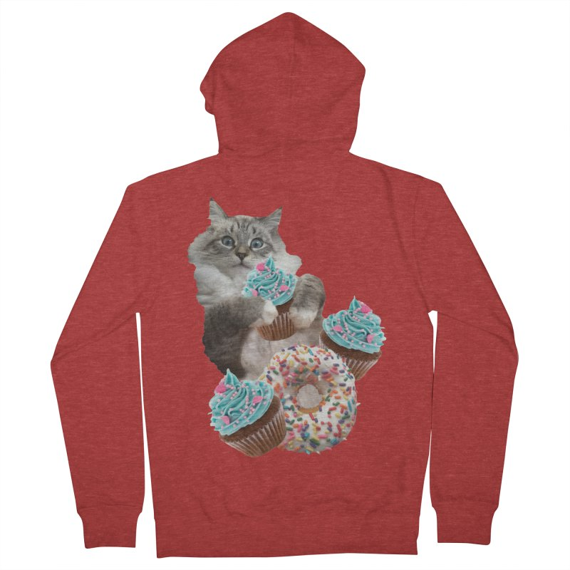 Cupcake Donut Cat  Men's French Terry Zip-Up Hoody by heARTcart's Artist Shop