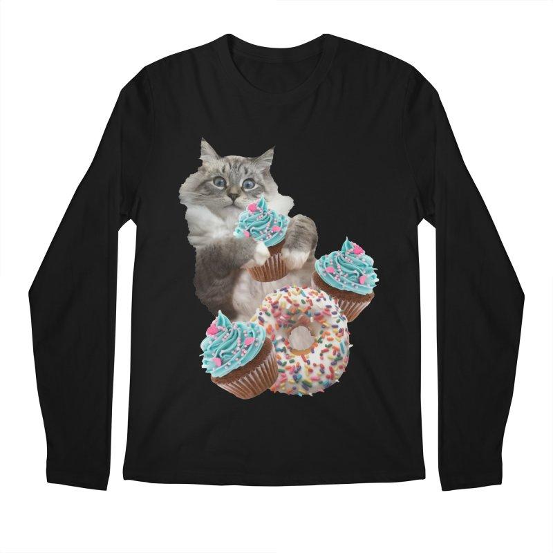Cupcake Donut Cat  Men's Regular Longsleeve T-Shirt by heARTcart's Artist Shop