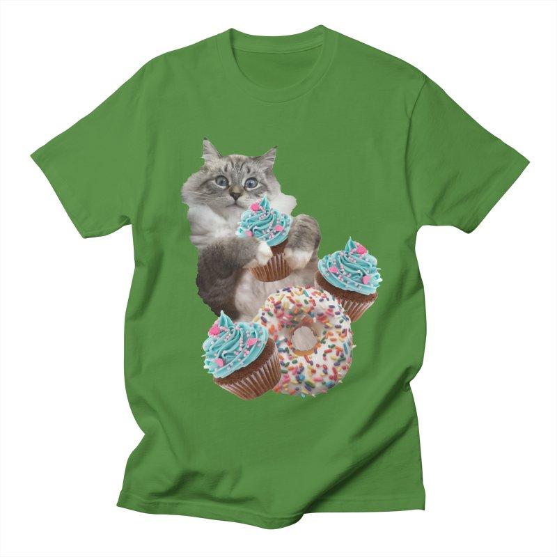 Cupcake Donut Cat  Men's Regular T-Shirt by heARTcart's Artist Shop