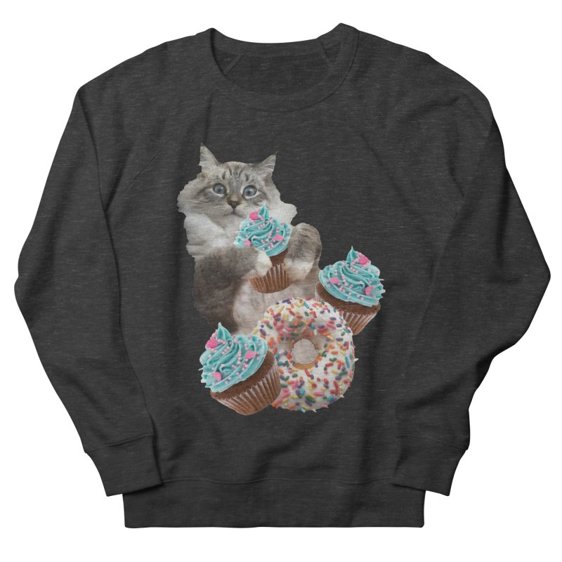 Cupcake Donut Cat  Women's French Terry Sweatshirt by heARTcart's Artist Shop