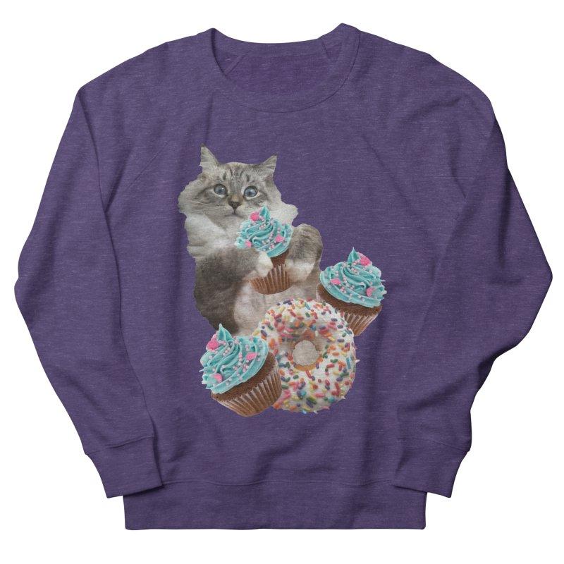 Cupcake Donut Cat  Men's French Terry Sweatshirt by heARTcart's Artist Shop